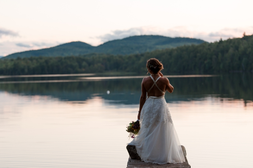 Adirondack Lake Bridal Portrait