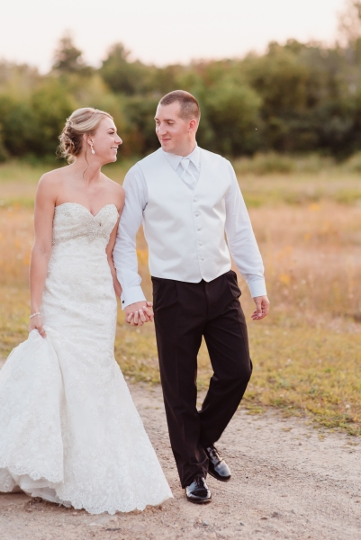 Adirondack Fall Wedding Bride & Groom
